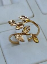 Statement Gold Ring ,14K Yellow Gold Open Ring , Leaf Gold Ring, Handmade Ring