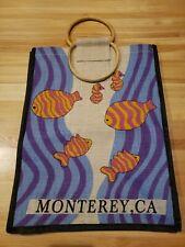 Vintage Jute Beach Travel Tote Bag.   Monterey, CA. Fish and Sea Horses Image