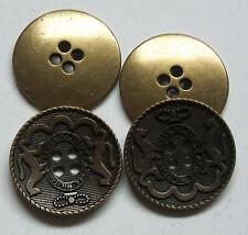 8pc 15mm Rampant Lion Crested Antique Gold Military 4 Hole Button  2291