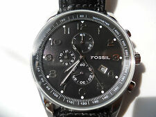 Fossil chronograph men's blk leather band.quartz,Analog & battery watch.FS-4310