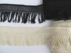 2m Vintage style cotton crochet lace trim with fringe, cream or black 10cm