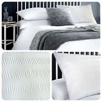 Serene SEERSUCKER Duvet Cover Bedding Set Easy Care White Striped Double King