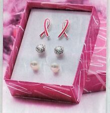 **AVON* BREAST CANCER CRUSADE**SET OF 3 EARRINGS ** NEW IN BOX **
