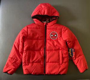 Boy's Size 5 Marvel's Spider-Man Red Zip Up Winter Puffer Coat Outerwear