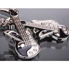 Fashion Guitar Rhinestone Crystal Key Ring Chain Cute Keychain Lover Gift