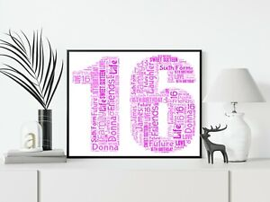 16th 18th 21st 30th 40th 50th 60th Personalised A4 Word Art Birthday Gift Print