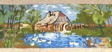 """Large Crewel Work Old Country Scene Tapestry Hand Embroidered Wool Vtg 58 x 22"""""""