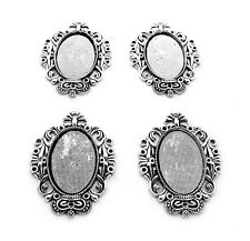 4 Ant. Silvertone Dynasty Style 30mm x 20mm Cameo Pendant Frames Settings