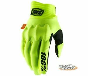 100% Adult COGNITO Gloves - FLUO YELLOW SMALL - MX ATV Dirt MTB- Touch Screen