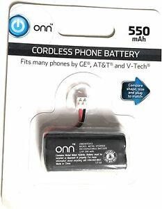 ONN Cordless Phone Battery 550mAh 2.4 Volts, Fits most GE AT&T V TECH NEW IN BOX