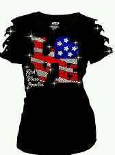 Bling Rhinestones 4th of July T-shirt Ripped Slit Cut Out Flag w/ LOVE 2XL