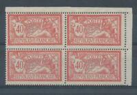 FRANCE - Bloc de 4 N°119, 40c. rouge et bleu CDF NEUF LUXE ** COTE 260€ P1422