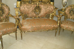 NEVER SEEN 7 PC FRENCH ANTIQUE 18TH CENTURY LOUIS XVI SOFA,ARM CHAIRS,CHAIRS SET