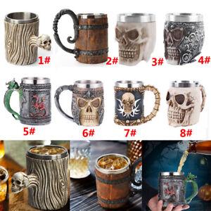 Creative Skull Crude Wood Mug Resin Coffee Beer Cup Pub Bar Home Party Decor