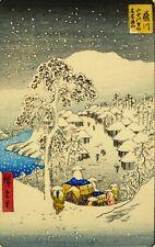 Japanese Snowy Village Woodblock