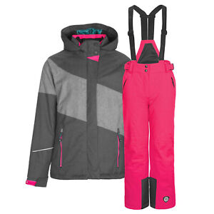 Kinderschneeanzug Gr. 176 Skianzug Funktions Skijacke anthrazit Skihose pink