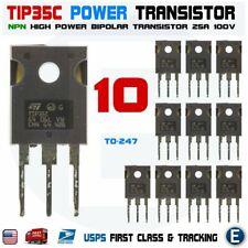 10pcs Tip35c Tip35 Npn High Power Transistor 25a 100v Bipolar To 247
