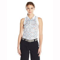 Grand Slam Women's Sleeveless Motion Flow Plaid Printed Zip Polo in sizes XS-XXL