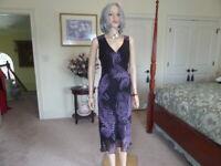 Willi Smith 100% Silk Black W/Purple Print Fit & Flare Sheath Dress Size 8