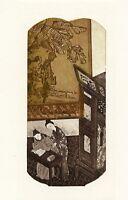 Wu Bin, China, Original Etching Ex libris Bookplate,  Ancient Castle