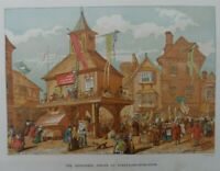 Antique lithograph print - Shakspere jubilee at Stratford u Avon - Leighton Bros