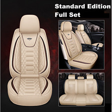 Beige Car Front&Rear Seat Cover Luxury Leather Universal Seat Cushion Protector