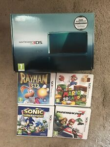 NINTENDO 3DS AQUA BLUE CONSOLE,CASE,4 GAMES MARIO KART, SUPER MARIO,SONIC,RAYMAN
