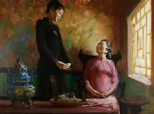 Fred LAURENT Chinese mother and daughter stunning ORIGINAL gouache illustration