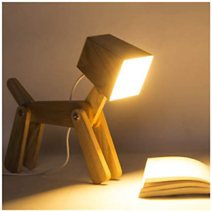 HROOME Cute Wooden Dog Design Adjustable Dimmable Bedside Table Lamp Touch 6W