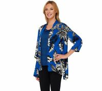 Linea by Louis Dell'Olio Women's Printed Cardigan and Tank Set Blue Small Sz QVC