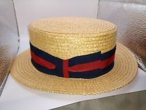 Vintage Men's Ponte Rialto Venice Boater Skimmer Sailor Straw Hat Size 7 3/8