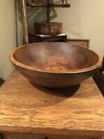 Antique Primitive Off Round Wooden Dough Bowl-Heavy- Beautiful Grain