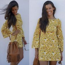 ZARA YELLOW 60S STYLE FLORAL RETRO PRINT BELL SLEEVE MINI SHORT DRESS S BLOGGERS