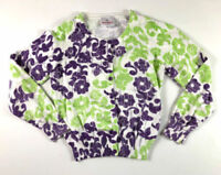 Hanna Andersson Girls 8 130 Purple Green Floral Cardigan Sweater