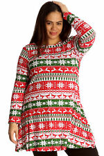 New Womens Plus Size Top Ladies Fair Isle Nordic Reindeer Christmas Print Swing
