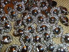 100 x Small Silver Metal Look Diamond Cut 13mm Shank Back Buttons ( MB41 )