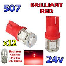 12 x RED 24v Capless Hella Spot Light 507 W5W 5 SMD T10 Wedge Bulbs HGV Truck