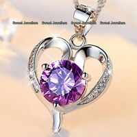 WOMENS JEWELLERY Xmas Gift For Her Wife 925 Silver Purple Crystal Heart Necklace