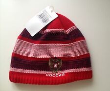 Reebook mens winter knitted reversible hat Russian emblem/ hockey one size red