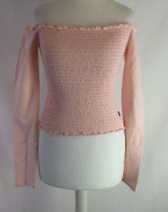 Hollister Baby Millennial Pink Bardot Shirred Top Size Medium New Shoulder K149