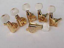 Jin HO 6 inline guitar machine heads, tuners, quality Korean parts  Gold