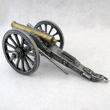 METAL MILITARY CANNON REPLICA SCULPTURE  SILVERTONE AND BRASS