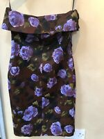 Karen Millen Vintage Floral Print Cocktail Wiggle Pencil Dress Size 14