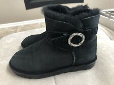 Ugg Short Black Boots Silver Buckle Size 7 Or 38 S/n 1012335 Women's Worn Twice!