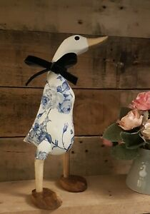 Handpainted Decoupage Wooden Bamboo Duck With Blue Roses and Webbed Feet