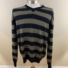 Burberry London Mens Pullover Sweater Navy Blue Gray Stripe V-Neck Merino Wool L