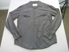 078 MENS EX-COND DKNY JEANS CHOC EMBROIDERED L/S SHIRT SZE LRG $130 RRP.