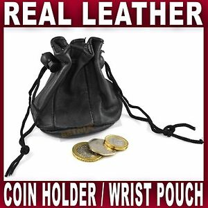 SMALL Black LEATHER DRAWSTRING WRIST POUCH change coin holder bag ladies gents