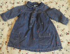 MINI CLUB BABY BLUE DENIM DRESS LONG SLEEVE BUTTON FRONT BLACK LINING 0-3 MONTHS