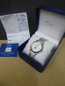 Mens Rotary Moonphase Chronograph wristwatch with box and paperwork. Runs